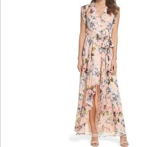 ELIZA J Blush Floral Ruffle Hi Low Maxi Dress 12P